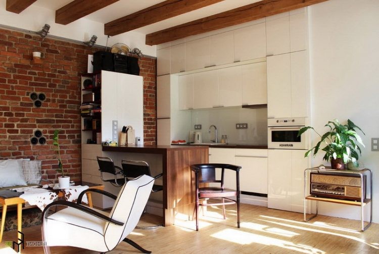 Brick Wall Accent In Rustic Living Room Design