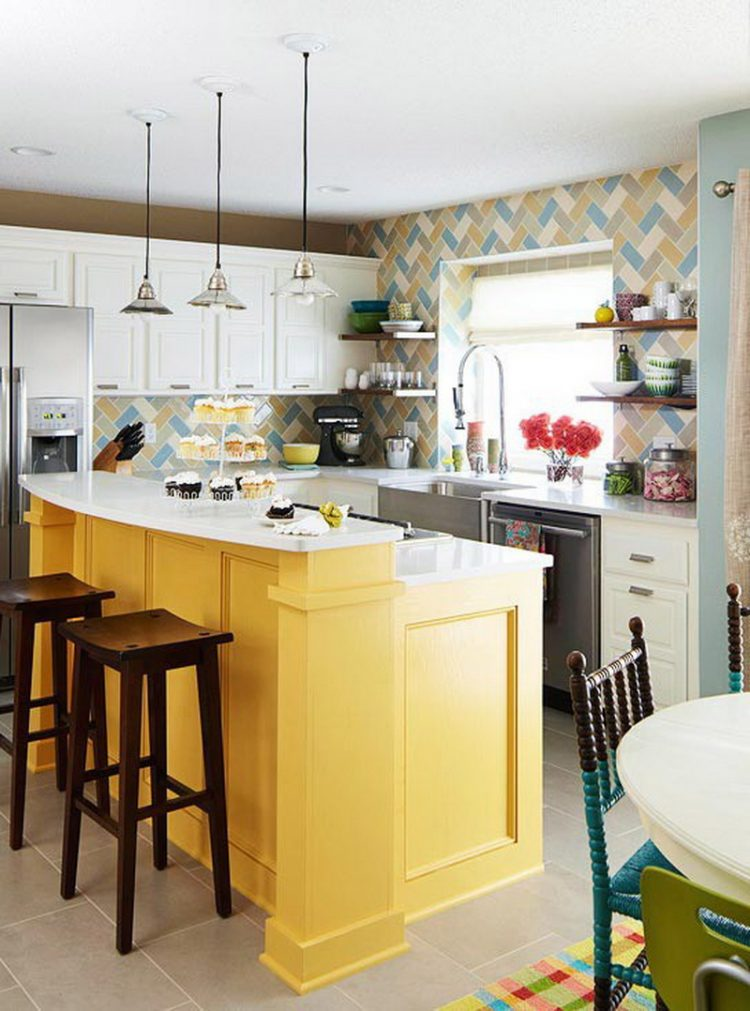 Colorful Kitchen Ideas Country Design And Creative Tile Backsplash