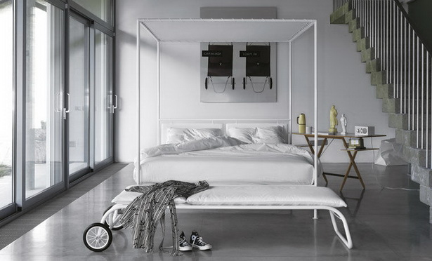 Contemporary White Metal Canopy Bed