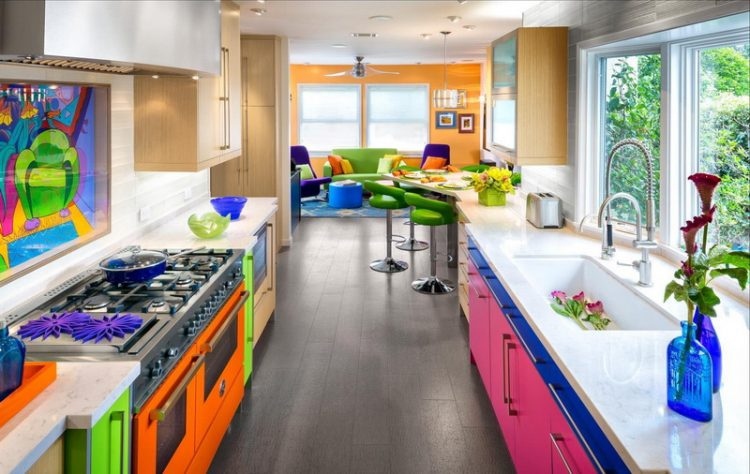 Eclectic Colorful Kitchen Design In Extended Space