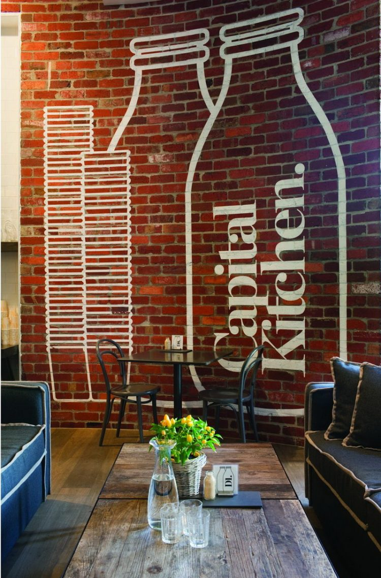 Interior Brick Wall In Eclectic Living Room Design