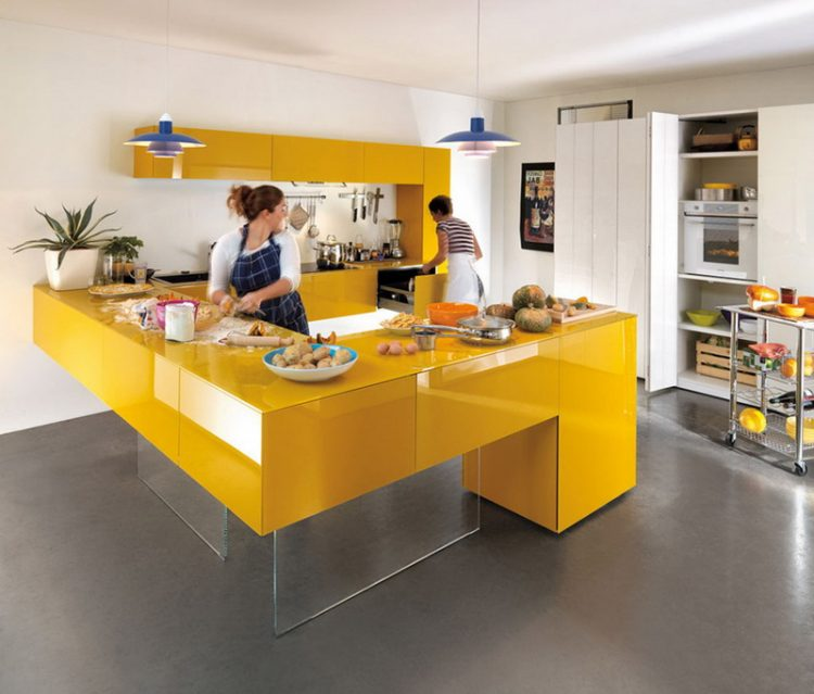 Modern Kitchen Design With Yellow White Color
