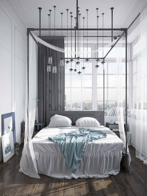 Modern Pipe Canopy Bed With Simple Headboard