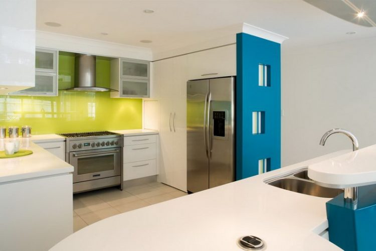 Modern White Kitchen In Blue And Lime