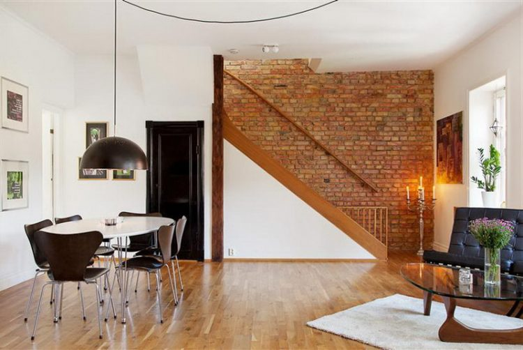 One Side Brick Wall In Modern Living Room