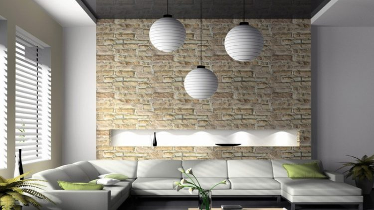 Painted Brick Wall Interior In Luxury Modern White Living Room