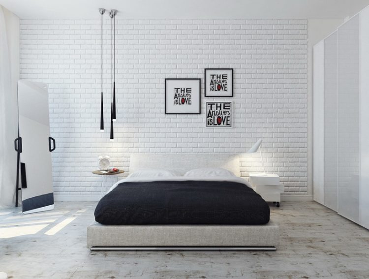Bedroom Modern Contemporary Painted With White Brick Wall Interior Design