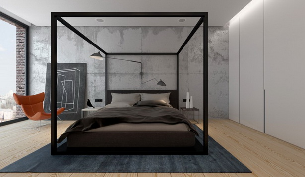 Black Wood Canopy Bed Contemporary Design