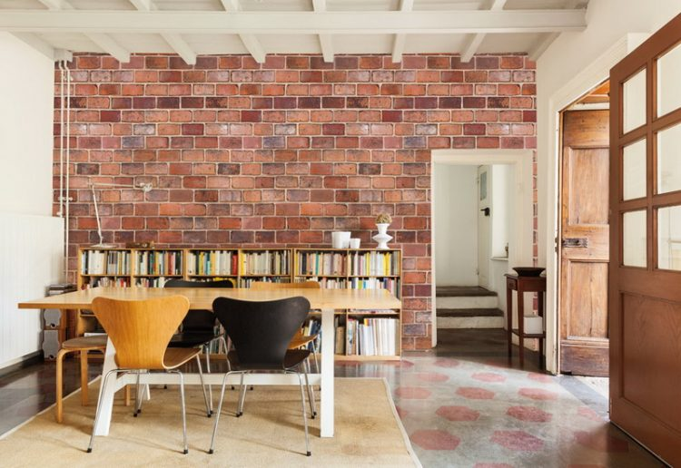 Clutter Free Brick Wall Dining Space