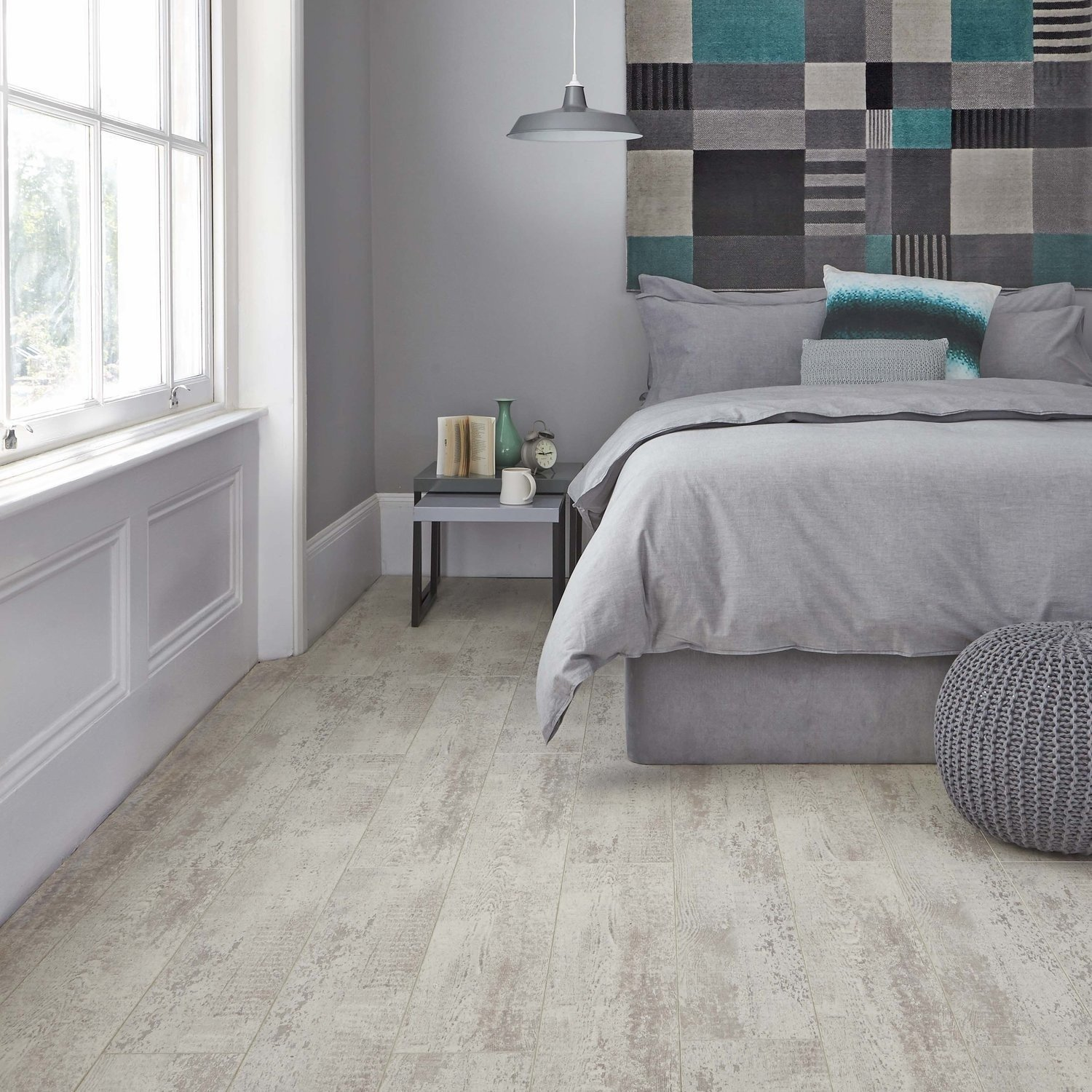 Gray Parquet Bedroom Flooring