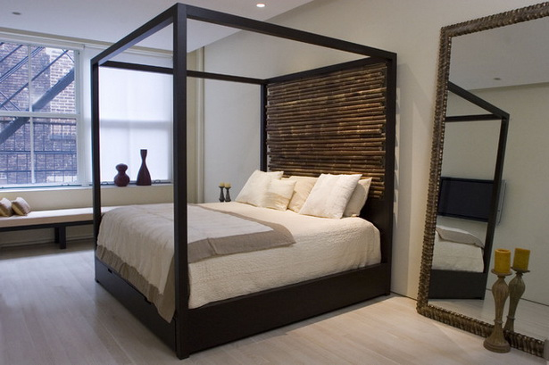 Modern Dark Brown Hardwood Canopy Bed With Bamboo Headboard