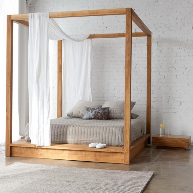 Modern Unfinished Natural Canopy Bed