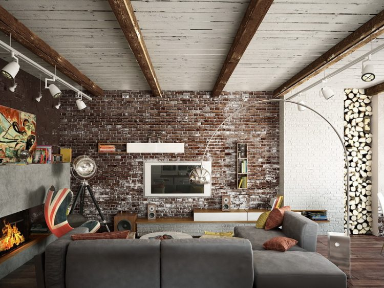 Taupe Brick Wall In Contemporary Freestyle Living Room