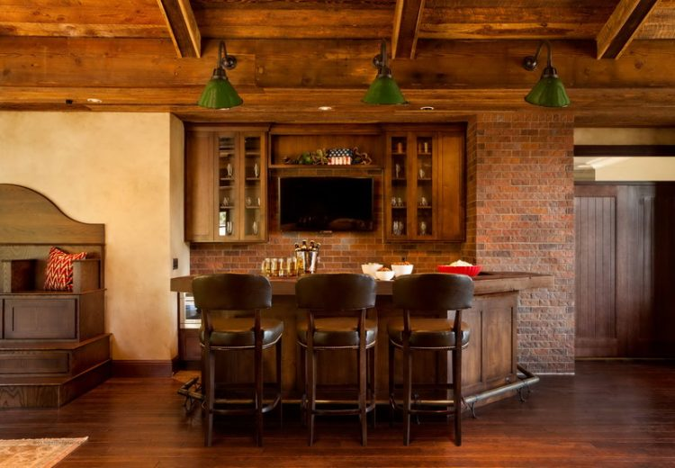 Traditional Mini Bar With Brick Accent Wall