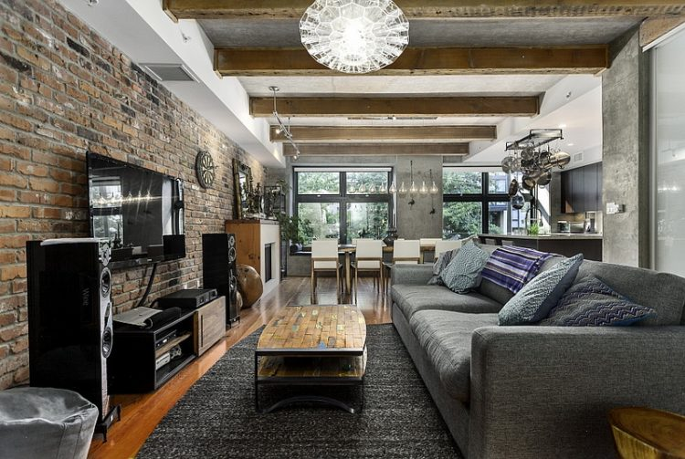 Unfinished Brick Wall Interior Design In Modern Gray Living Room