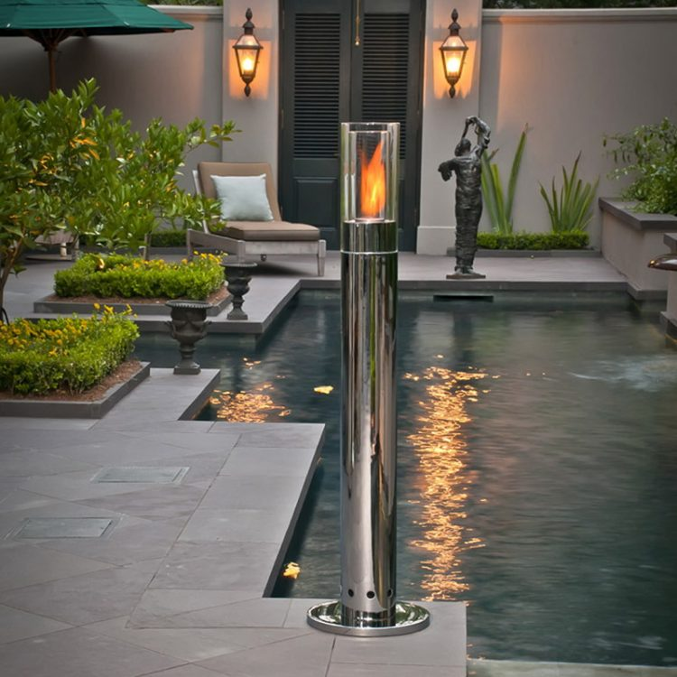 Wall Mounted And Standing Lighting In Backyard Pool